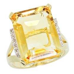 Natural 12.13 ctw Citrine & Diamond Engagement Ring 14K Yellow Gold - REF-71N2G