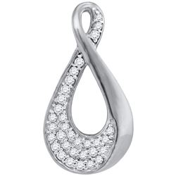 0.12 CTW Diamond Teardrop Pendant 10KT White Gold - REF-11F2N