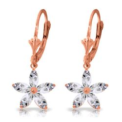 Genuine 2.8 ctw White Topaz Earrings Jewelry 14KT Rose Gold - REF-46N7R