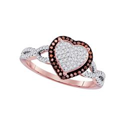 0.17 CTW Red Color Diamond Heart Cluster Ring 10KT Rose Gold - REF-34N4F