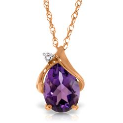 Genuine 1.53 ctw Amethyst & Diamond Necklace Jewelry 14KT Rose Gold - REF-28A3K