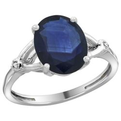 Natural 2.41 ctw Blue-sapphire & Diamond Engagement Ring 10K White Gold - REF-85X2A