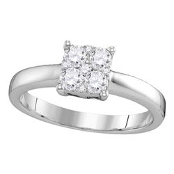 0.43 CTW Diamond Cluster Bridal Engagement Ring 18KT White Gold - REF-112F5N