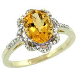 Natural 1.85 ctw Citrine & Diamond Engagement Ring 14K Yellow Gold - REF-38V6F