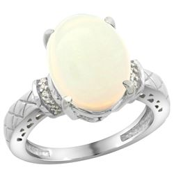 Natural 5.53 ctw Opal & Diamond Engagement Ring 14K White Gold - REF-62K2R