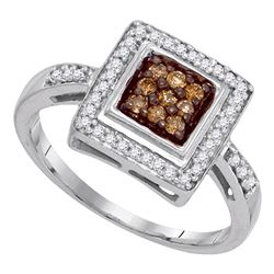 0.25 CTW Cognac-brown Color Diamond Square Cluster Ring 10KT White Gold - REF-24M2H