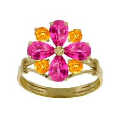 Genuine 2.43 ctw Pink Topaz & Citrine Ring Jewelry 14KT White Gold - REF-48Y9F