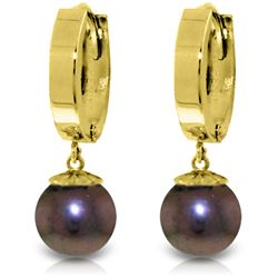 Genuine 4 ctw Black Pearl Earrings Jewelry 14KT Yellow Gold - REF-22T5A