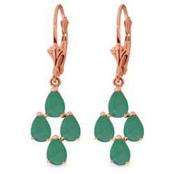 Genuine 4.5 ctw Emerald Earrings Jewelry 14KT Rose Gold - REF-63K8V