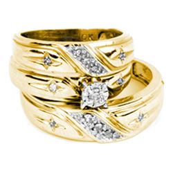 0.15 CTW His & Hers Diamond Cross Matching Bridal Ring 10KT Yellow Gold - REF-37F5N