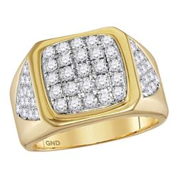 2.3 CTW Mens Diamond Square Cluster Ring 14KT Yellow Gold - REF-167N9F
