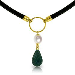 Genuine 10.80 ctw Green Sapphire Corundum & Pearl Necklace Jewelry 14KT Yellow Gold - REF-64W4Y