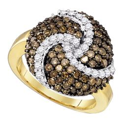 1.65 CTW Cognac-brown Color Diamond Swirl Cluster Ring 10KT Yellow Gold - REF-87K2W