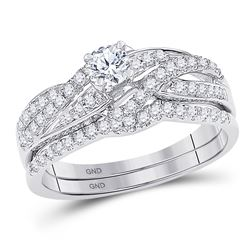 0.50 CTW Diamond Bridal Wedding Engagement Ring 10KT White Gold - REF-57H2M