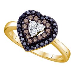 0.50 CTW Black Color Diamond Heart Love Ring 14KT Yellow Gold - REF-40X4Y