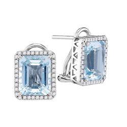5.52 CTW Emerald-shape Created Aquamarine Stud Earrings 14KT White Gold - REF-209K9W
