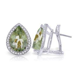 Genuine 6.82 ctw Amethyst & Diamond Earrings Jewelry 14KT White Gold - REF-119Y7F