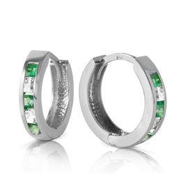 Genuine 1.26 ctw Emerald & White Topaz Earrings Jewelry 14KT White Gold - REF-43W4Y