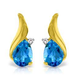 Genuine 5.06 ctw Blue Topaz & Diamond Earrings Jewelry 14KT Yellow Gold - REF-54W2Y