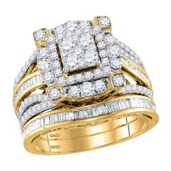 1.83 CTW Diamond Cluster Bridal Engagement Ring 14KT Yellow Gold - REF-172H4M
