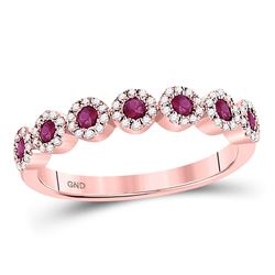 0.46 CTW Ruby & Diamond Ring 10KT Rose Gold - REF-40H8F