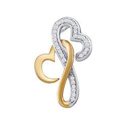 0.10 CTW Diamond Double Locked Heart Love Pendant 10KT Two-tone Gold - REF-13K4W