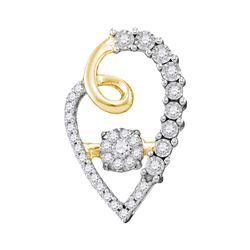 0.20 CTW Diamond Cluster Heart Pendant 10KT Yellow Gold - REF-31W4K