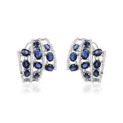 7.33 CTW Sapphire & Diamond Earrings 18K White Gold - REF-197H6M