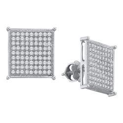 0.40 CTW Diamond Square Cluster Stud Earrings 10KT White Gold - REF-26N9F