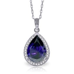Genuine 5.26 ctw Sapphire & Diamond Necklace Jewelry 14KT White Gold - REF-96Y6F