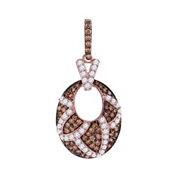 1 CTW Brown Color Diamond Oval Pendant 10KT Rose Gold - REF-57M2H