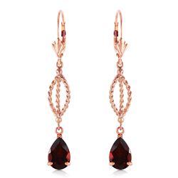 Genuine 3 ctw Garnet Earrings Jewelry 14KT Rose Gold - REF-45F5Z
