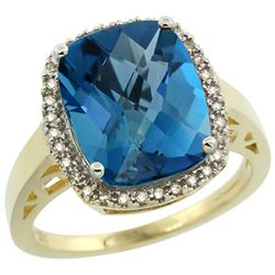 Natural 5.28 ctw London-blue-topaz & Diamond Engagement Ring 10K Yellow Gold - REF-43Y3X