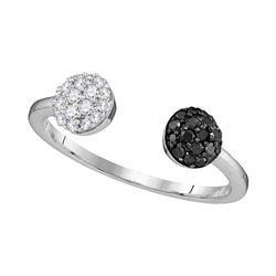0.33 CTW Black Color Diamond Bisected Ring 10KT White Gold - REF-19F4N