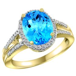 Natural 2.72 ctw swiss-blue-topaz & Diamond Engagement Ring 10K Yellow Gold - REF-45W3K
