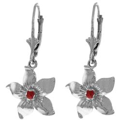Genuine 0.20 CTW Ruby Earrings Jewelry 14KT White Gold - REF-66M5T