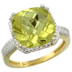 Natural 5.96 ctw Lemon-quartz & Diamond Engagement Ring 14K Yellow Gold - REF-40H5W