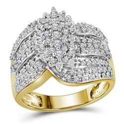 0.78 CTW Prong-set Diamond Oval Cluster Ring 10KT Yellow Gold - REF-59X9Y