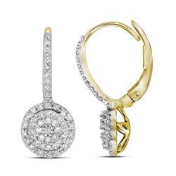 0.50 CTW Diamond Flower Cluster Dangle Leverback Earrings 10KT Yellow Gold - REF-34K4W