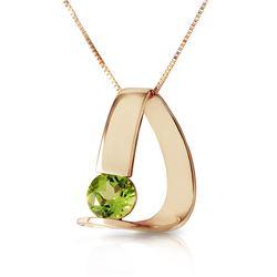 Genuine 1 ctw Peridot Necklace Jewelry 14KT Yellow Gold - REF-50X5M