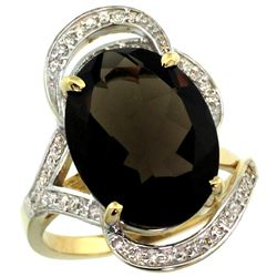 Natural 11.23 ctw smoky-topaz & Diamond Engagement Ring 14K Yellow Gold - REF-104Y5X