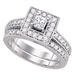 1 CTW Princess Diamond Solitaire Halo Bridal Engagement Ring 14k White Gold - REF-149F9N