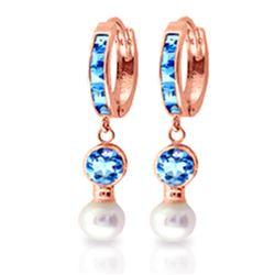 Genuine 4.3 ctw Blue Topaz & Pearl Earrings Jewelry 14KT Rose Gold - REF-48T3A
