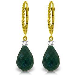 Genuine 17.7 ctw Green Sapphire Corundum & Diamond Earrings Jewelry 14KT Yellow Gold - REF-42Z6N