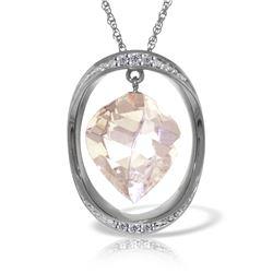 Genuine 12.9 ctw White Topaz & Diamond Necklace Jewelry 14KT White Gold - REF-113T6A