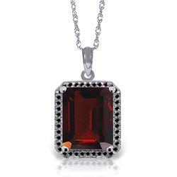 Genuine 7.7 ctw Garnet & Black Diamond Necklace Jewelry 14KT White Gold - REF-70T2A