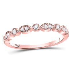 0.17 CTW Diamond Milgrain Stackable Ring 10KT Rose Gold - REF-18X7Y