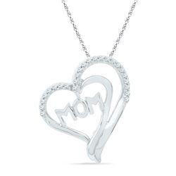 0.16 CTW Diamond Heart Love Pendant 10KT White Gold - REF-18K2W