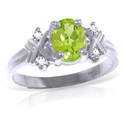 Genuine 0.97 ctw Peridot & Diamond Ring Jewelry 14KT White Gold - REF-59V2W