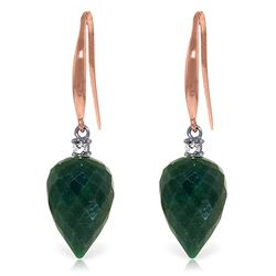Genuine 25.9 ctw Green Sapphire Corundum & Diamond Earrings Jewelry 14KT Rose Gold - REF-42A9K